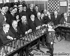 Samuel Reshevsky Age 8 Defeating Chess Masters, France 1920 Historic Photo Print