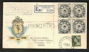 Australia 1954 Registered FDC Macquarie Isl. to Canada #276 block #257 F-VF