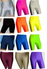 Ladies Womens Mens Cycling Shorts Dancing Neon Super Stretch Shiny High Waist