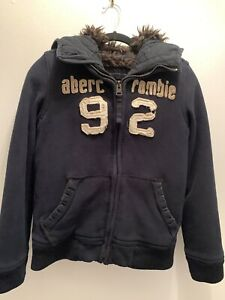 Abercrombie & Fitch Adirondack Fur Lined Jacket Navy Blue Youth Boy L Never Worn