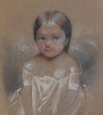 Portrait de Marie Delaunoy Dessin au pastel 1849 enfant bébé maternité naissance