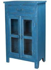 "44"" Cesare Cabinet Wood Glass Double Doors Top Drawer Antique Dark Blue"