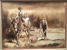 "33 x 25 Glass Framed Original Watercolor Farmers Tilling w Mule ""Celia Hurtado"""
