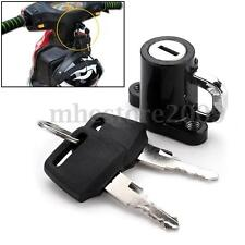 Universal Motorcycle Motorbike Bike Helmet Lock Hanger Hook & 2 Keys Set Black