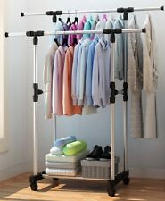Double Heavy Duty Rail Adjustable Portable Clothes Hanger Rolling Garment Rack T