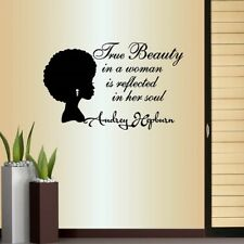 Vinyl Decal True Beauty in a Woman Quote Beautiful African Woman Style 903