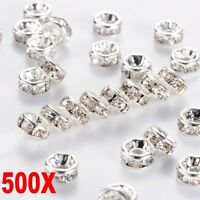 500PCS Rhinestone Rondelle Spacer Beads Silver Crystal Diamante 8mm