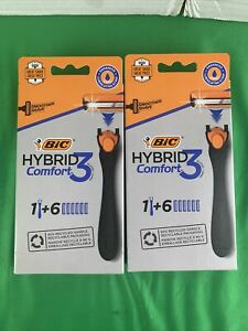 2 PK Bic Hybrid Comfort Men 3-Blade Razor, 1 Handle + 6 Cartridges each