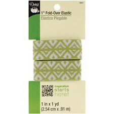 "Dritz 1"" Fold-Over Elastic -- NEW -- Green & Gray Foulard Design  #9351"