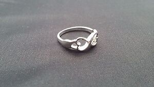 Silver Two Heart Infinity Ring - Black Velvet Gift Pouch - UK Seller