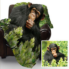 Cute Baby Chimp design animal Soft Fleece Throw utilisantun Cover Large Chair Poison