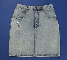 Wampum mini gonna tubo tubino vinatge jeans blu corta sexy vita alta usata T1775
