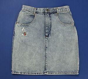 Wampum mini gonna tubo tubino vinatge jeans blu corta sexy vita alta usato T1775