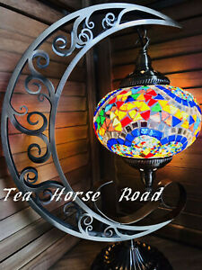 Turkish Moon Lamp Mosaic Light Handmade Brass Plated Stand LED
