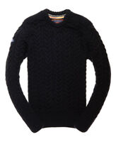 Superdry Mens Jacob Crew Cable knit jumper Navy/Black  Twist Ship Worldwide