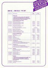 MERCEDES BRABUS SL SLC R107 W107 Preise Preisliste Ausstattungen 1984 99