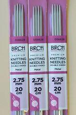 2.75mm BIRCH 20cm length Premium Double Point Knitting Needles