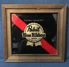 Pabst Blue Ribbon Beer Picture with Wood Frame 10x11 RARE