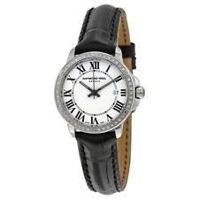 Raymond Weil Geneve Tango Diamond Black Leather Watch 5391-LS1-00300 New in Box