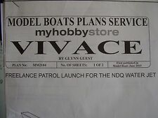 A  MODEL BOAT PLAN VIVACE MM 2104 PATROL LAUNCH FOR NDQ WATER JET   ORIGINAL
