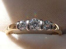 Q54 Ladies 18ct gold top quality grade colour E 1/3 carat diamond trilogy ring