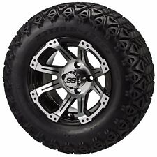 Set of 4 - 23x10.5-12 Tire on a 12x7 Black/Machined Type 11 Wheel w/FREE freight