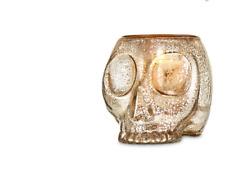 Bath & Body Works Halloween Gold Glass Skull Candle Holder Spooky Glow
