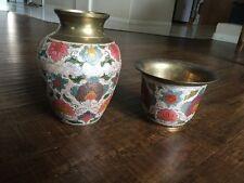 Antique Brass And Enamel Vase Lot Of 2