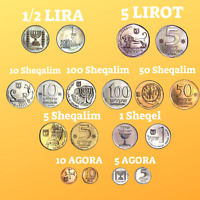 Lot of 9 Israel Sheqel & Lira Coins | Israeli Coin | World Coins Set Currency