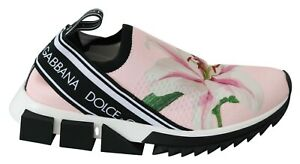 DOLCE & GABBANA Shoes Pink Floral Sorrento Stretch Sneakers Womens EU37.5 / US7