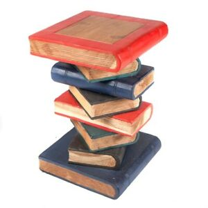 """Book Stack Table/Painted/Solid Wood/Hand Carved/Lamp Table/Plant Stand 20"""""""