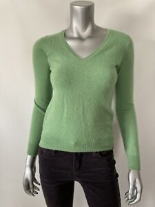 Uniqlo Womens Sweater XS Cashmere Green Thin Knit V-neck Long Sleeve