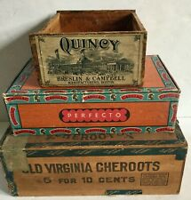 New ListingLot Antique Cigar Boxes Old Virginia Cheroots Quincy Campbell Boston Cadillac