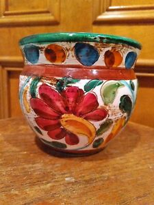 Ceramic Planter Flower Pot Hand Painted - ITALY