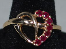 10k Gold ring with Rubies(July birthstone) and a beautiful heart design