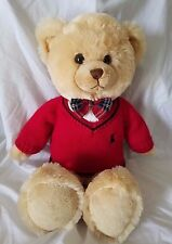"""Ralph Lauren Teddy Bear 2007 with Red Polo Sweater and plaid Bow Tie 15"""" Plush"""