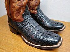 Mens 8 D Tony Lama Black Exotic CROCODILE TAIL CUT Square Toe Cowboy Boots, USA