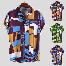 Мужские гавайские рубашки с коротким рукавом геометрический печать повседневный пляж футболка топы