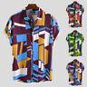 Men Hawaiian Shirts Short Sleeve Geometric Printed Casual Beach T Shirt Tee Tops
