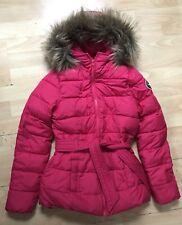 Hermosas niñas Abercrombie Rosa Rojo Puffer Abrigo Con Capucha De Piel Sintética Talla M