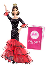 Dolls of the World Spain Barbie Doll With Passport Stickers Comb & Stand