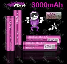4 Purple Efest 3000mAh/35A IMR 18650 High Drain Flat Top Battery / Efest Cases