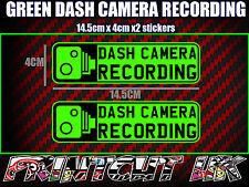 Registrazione TELECAMERA Dash cam auto adesivi x2 Decal DVR Auto Furgone Camion Autobus Moto Verde