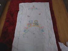 Vtg Linen Embroidered Crib Coverlet. Off white pink trim. Kitten & Puppy 36 x 54