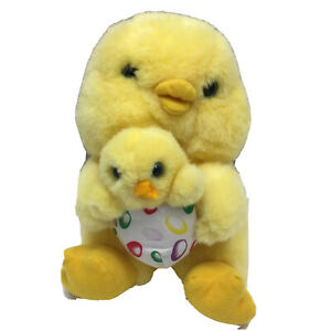 """Mama Duck With Chick Yellow Blue Eyes Vintage Avon Plush 7"""" Lovey Toy 1994"""