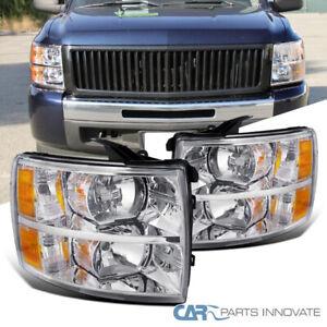 For 07-14 Chevy Silverado 1500 2500HD 3500HD Clear Headlights Head Lamps Pair