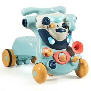 Baby Walker 2-In-1 Sit-To-Stand With Activity Center Kids Ride On Car Wheel Lock