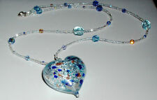 24K White Gold Infused Aqua Murano Heart Necklace
