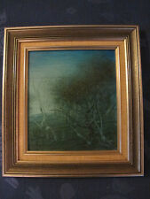 Pro Hart - Original Framed Oil Painting - 1976 Australian Blue Landscape