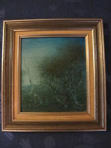 Pro Hart - Original Framed Oil Painting - 1976 Australian Blue Landscape